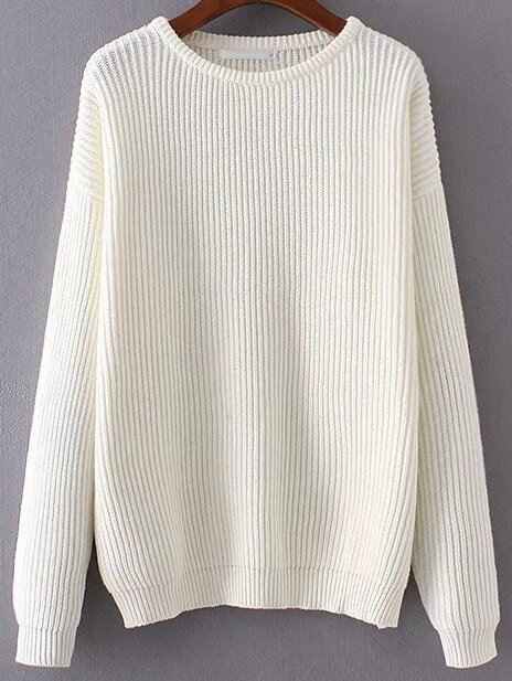 White Ribbed Drop Shoulder Sweater