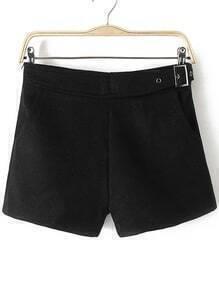 Pantalones cortos con cremallera y hebilla lateral - negro