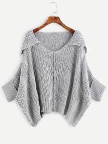 Pale Grey Cable Knit Cuffed Loose Sweater
