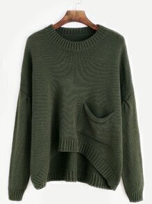 Army Green Drop Shoulder High Low Pocket Sweater