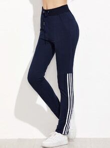 Dark Blue Striped Side Drawstring Waist Pants