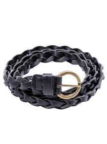 Black Braided Buckled Faux Leather Skinny Belt