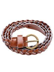 Brown Braided Buckled Faux Leather Skinny Belt