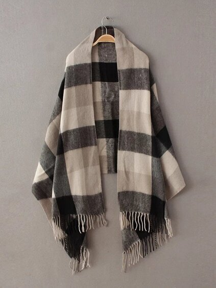 Beige And Black Plaid Fringe Edge Shawl Scarf