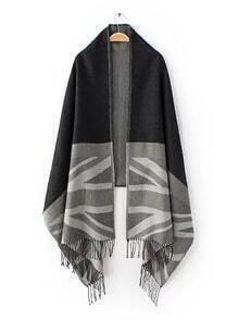 Black And Grey Union Jack Fringe Shawl Scarf