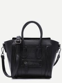Black Zip Trim Faux Leather Handbag With Strap