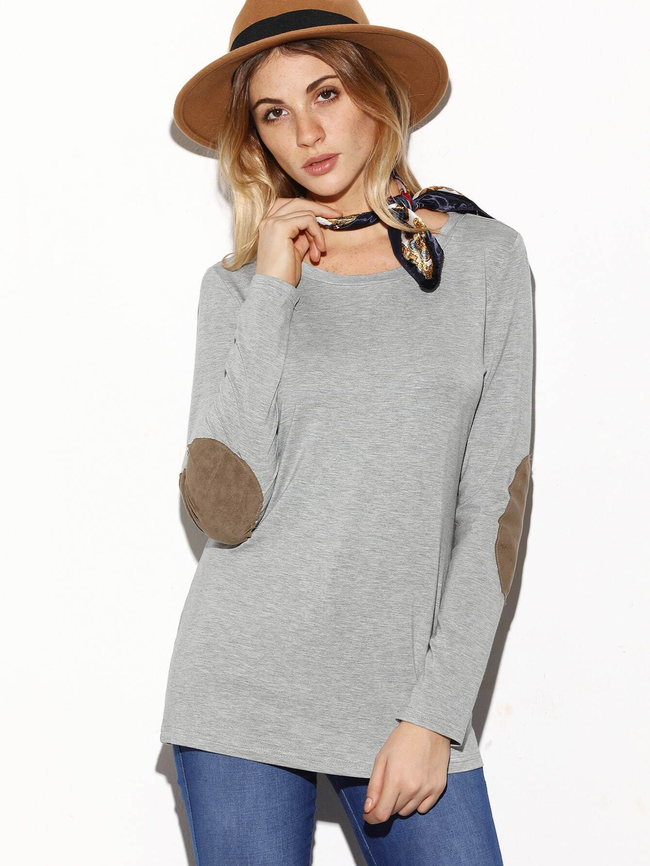 Grey Long Sleeve Elbow Patch T Shirtfor Women Romwe