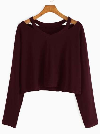 Burgundy Cut Out Neck T-shirt