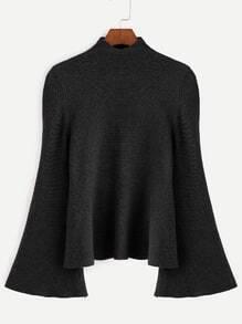 Black Mock Neck Bell Sleeve Jersey Sweater