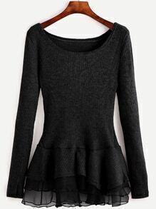 Black Contrast Chiffon Scoop Neck Sweater