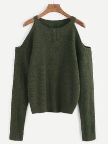 Army Green Open Shoulder Knit Sweater