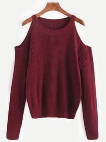 Jersey de tejido hombro abierto - borgoña
