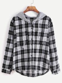 Sweat-shirt de poche ecossaise avec capuche contrastée