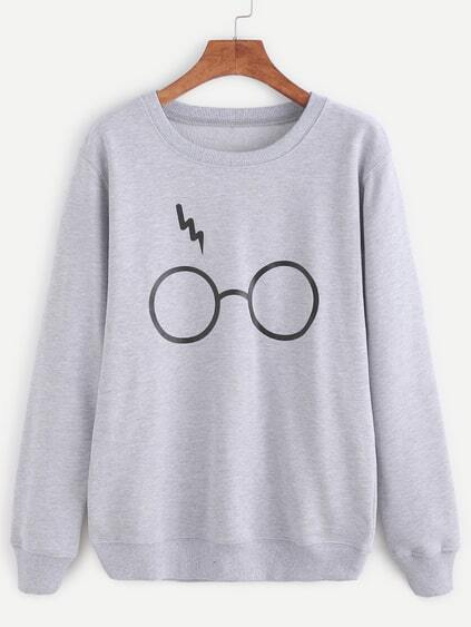 Pale Grey Glasses Print Sweatshirt