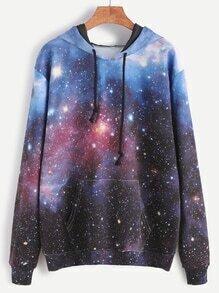 Sweat-shirt de poche à capuche corton imprimé de galaxie
