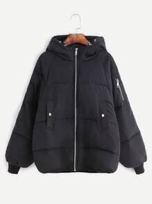Black Raglan Sleeve Zipper Hooded Padded Coat