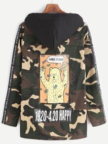 Cartoon Print Back Patch Drawstring Hooded Camouflage Coat