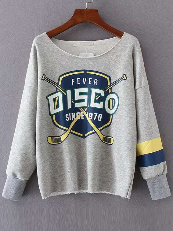 Grey Letter Print Raw Hem Sweatshirt