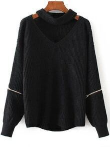 Jersey con escote V de gargantilla y detalle de cremallera - negro