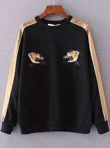 Black Color Block Tiger Embroidery Sweatshirt