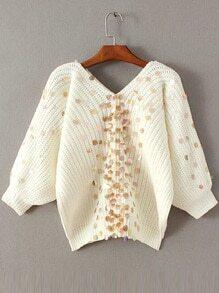 Jersey de manga farol con escote V y lentejuelas - blanco