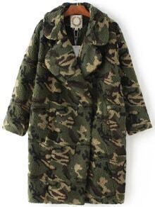 Army Green Hidden Button Camouflage Coat