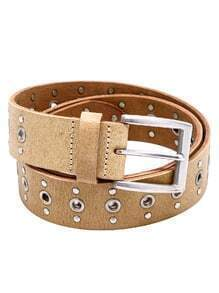 Beige Studded Hollow Out Buckled Belt