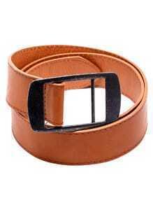 Brown Faux Leather Metal Buckle Belt