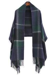 Navy And Green Plaid Fringe Edge Shawl Scarf