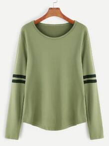 Camiseta de raya universitaria - verde militar