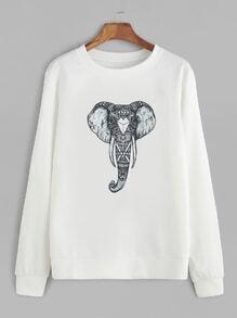 White Elephant Print Sweatshirt