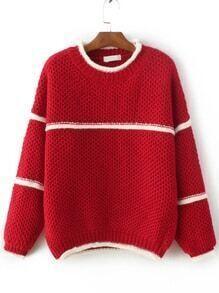 Jersey con cuello redondo - rojo