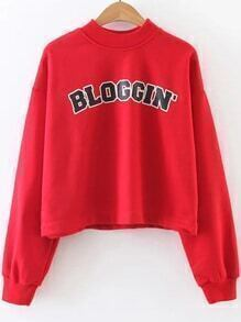 Sweat-shirt imprimé lettres col rond - rouge