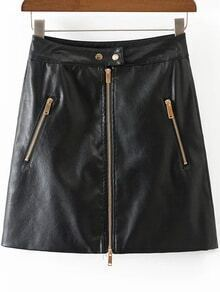 Falda de PU con cremallera - negro