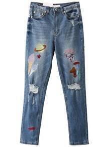 Jeans mit Zerrissen Design Cartoon Stickereien-blau