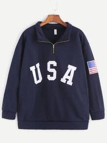 Navy USA Print Zip Detail Pocket Sweatshirt