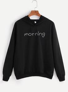 Sweat-shirt à capuche  imprimé lettre -noir