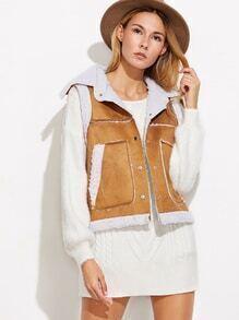 Khaki Suede Contrast Faux Shearling Vest Coat