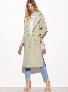 Grey Back Storm Flap High Slit Coat With Belt