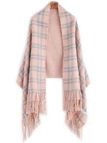 Pink Plaid Layered Fringe Warm Shawl Scarf