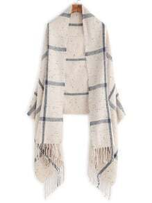 Beige Plaid Mottled Fringe Shawl Scarf