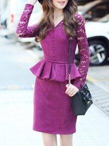 Purple V Neck Contrast Lace Peplum Sheath Dress