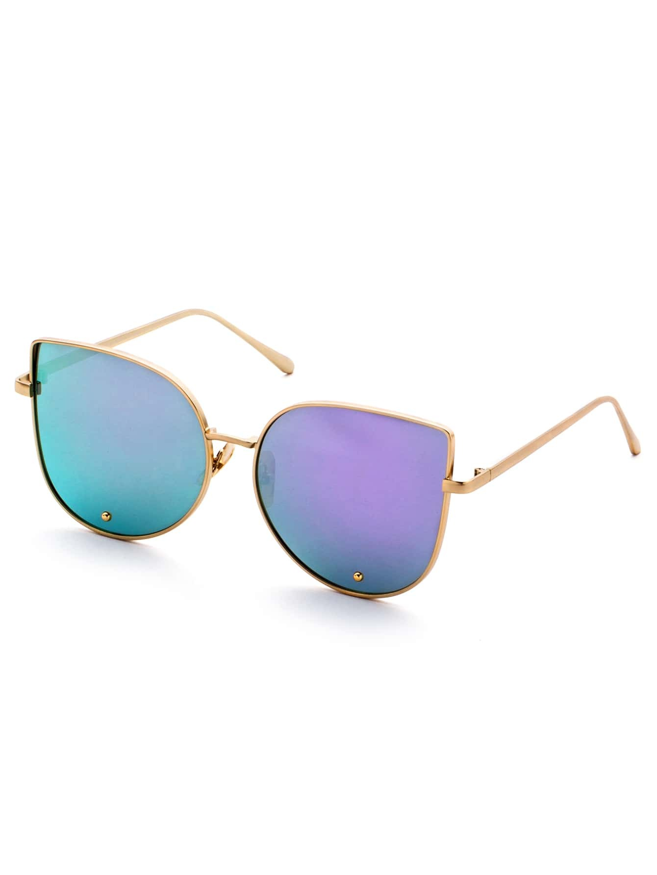 Gold Frame Cat Eye Sunglasses : Gold Frame Purple Cat Eye Stylish Sunglasses