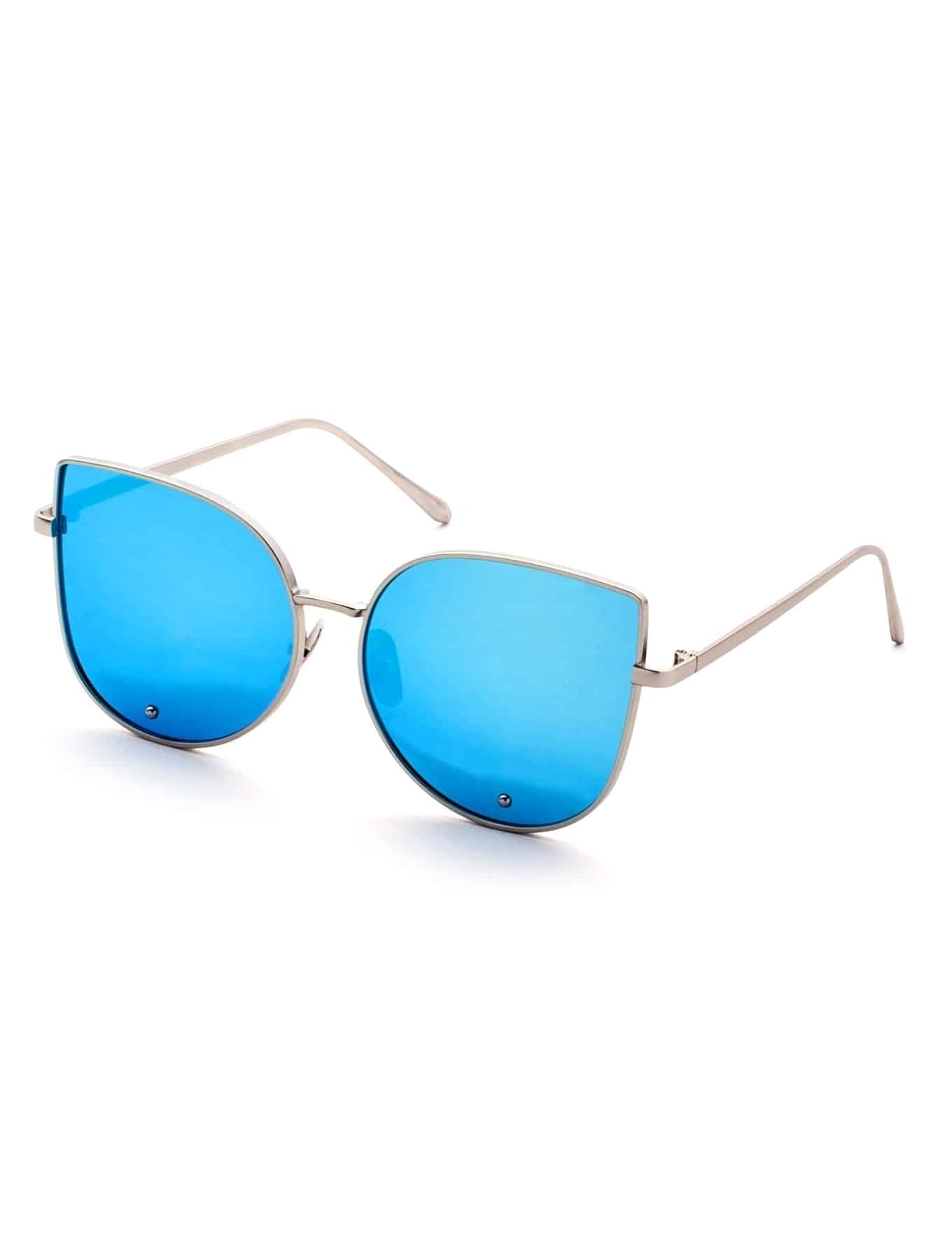 Gold Frame Cat Eye Sunglasses : Gold Frame Blue Cat Eye Stylish Sunglasses
