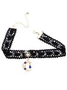 Black Floral Lace Moon Star Gemstone Choker Necklace