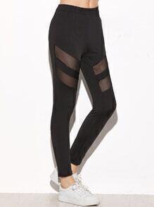 Black Contrast Mesh Skinny Leggings