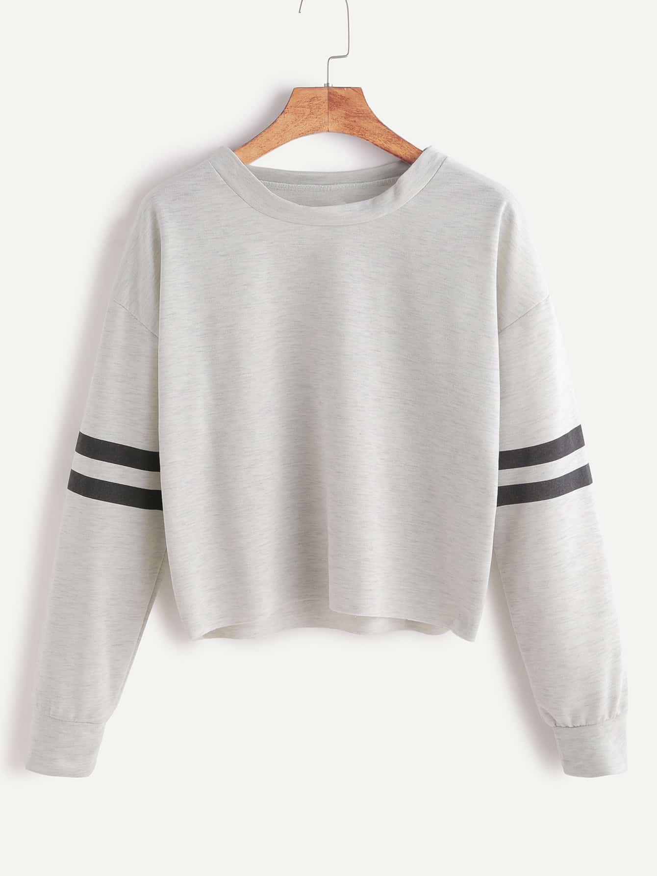 Heather Grey Drop Shoulder Varsity Striped Crop T-shirt RTSH161104106