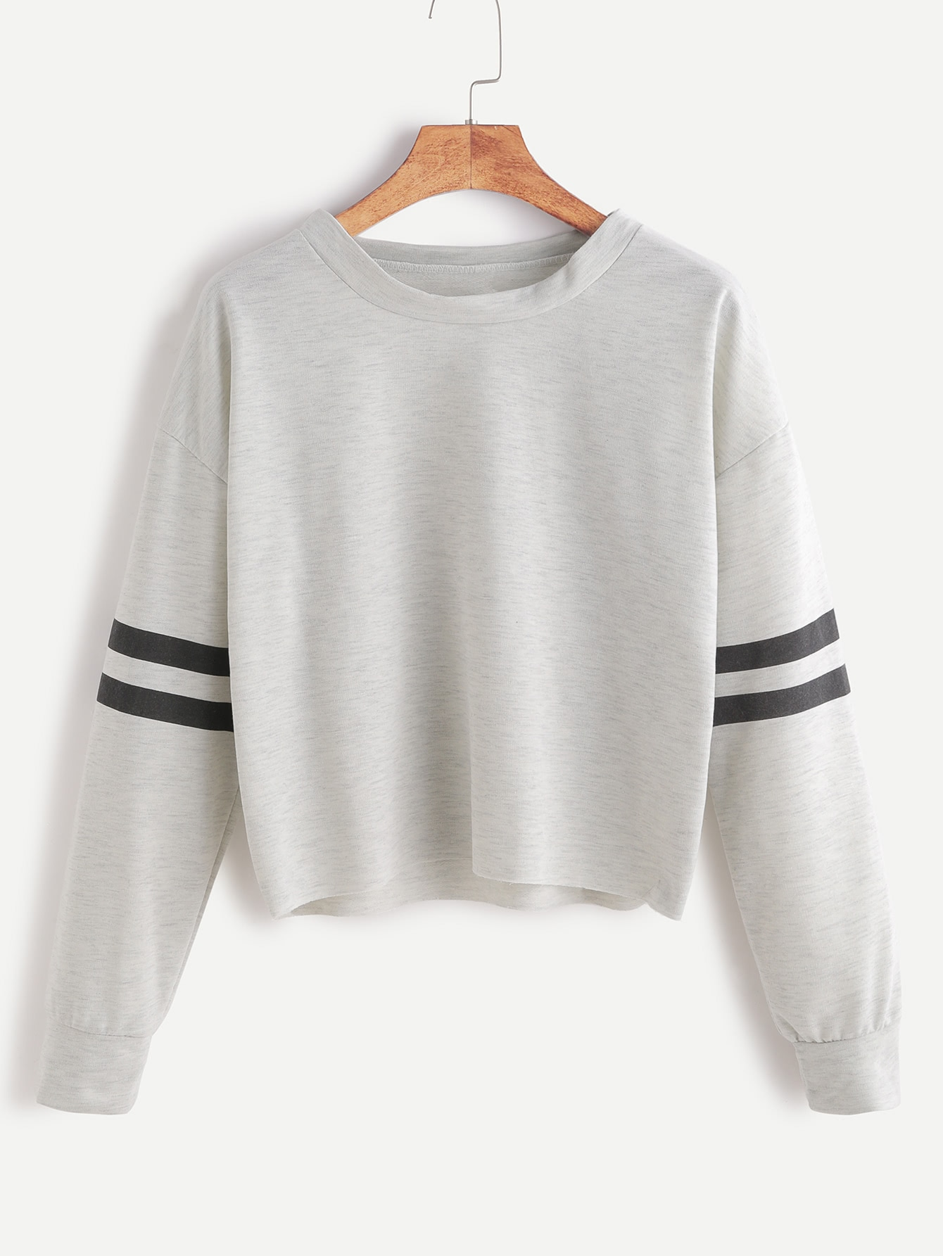 Heather Grey Drop Shoulder Varsity Striped Crop T-shirt RTSH161104106
