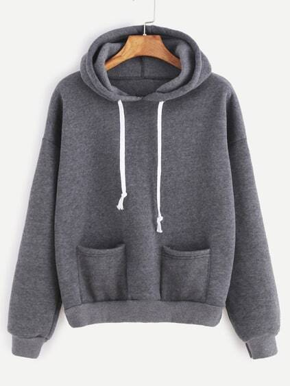 Grey Drop Shoulder Dual Pocket Drawstring Hooded Sweatshirt