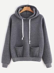 Grey Drop Shoulder Dual Pocket Drawstring Hooded Sweatshirt